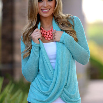 Cross Over Sweater  Knit  Mint