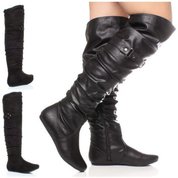 WOMENS LADIES FLAT BLACK OVER THE KNEE THIGH ZIP BUCKLE RUCHED PIRATE BOOTS SIZE