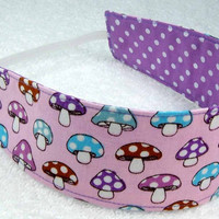 Children reversible headband - Mushrooms and dots - Fabric Kid Toddler Child - Bandeau réversible