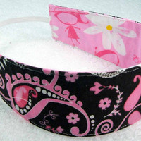 Children reversible headband - brown pink paisley - cotton fabric child little girl party favor - Bandeau rversible