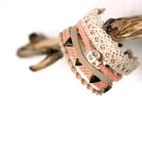 Pastel Multi Bracelet with Lace Detailing. Friendship Bracelet.