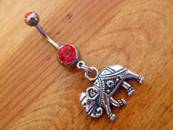 Belly button ring - Elephant with Red Gem