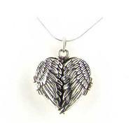 Angel Wings Locket Necklace Heart Shape Solid 925 Sterling Silver with Silver Snake Chain