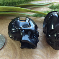 "Stick Post Earrings, ""Black Skull"" Design, Horn, Naturally Organic, Hand Carved, Tribal"