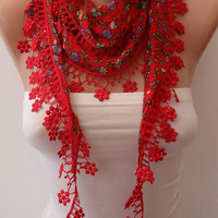 Red Flowered Scarf with Red Trim Edge - Summer Scarf - Lightweight