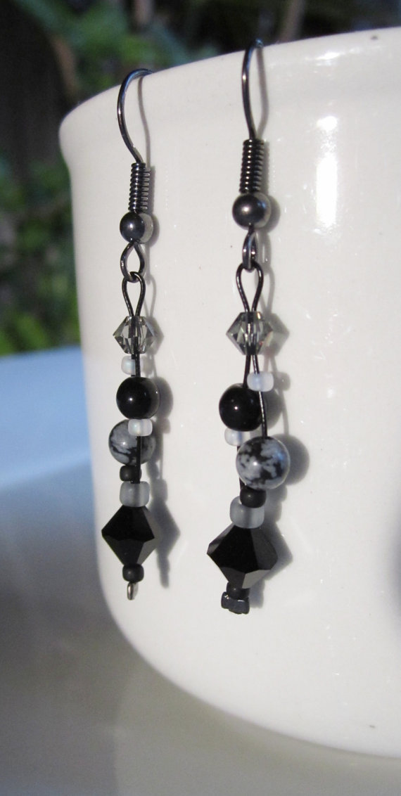 Black and Grey gemstone and Swarovski Crystal Earrings