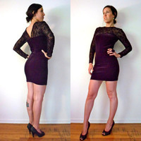 90&#x27;s Black Velvet Lace Stretch Long Sleeve Body Con Mini Dress
