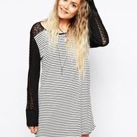 Minkpink The Elements Stripe Tunic Dress With Lace Contrast at asos.com