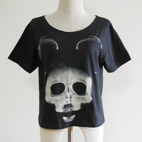 Mickey Mouse X-Ray Skull -- Mickey Mouse Shirt Women T-Shirt Crop Top Tee Shirt Tunic Shirt Black T-Shirt Size S , M