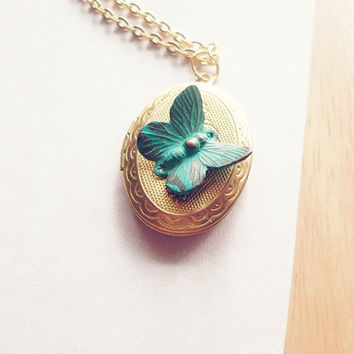 Fragile II - Verdigris Green Butterfly Victorian Locket - Cute Adorable Boho Bohemian Elegant Romantic Whimsical Dreamy Woodland Collection