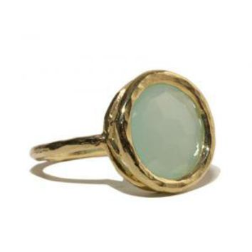 Chalcedony Hammered Gold Ring