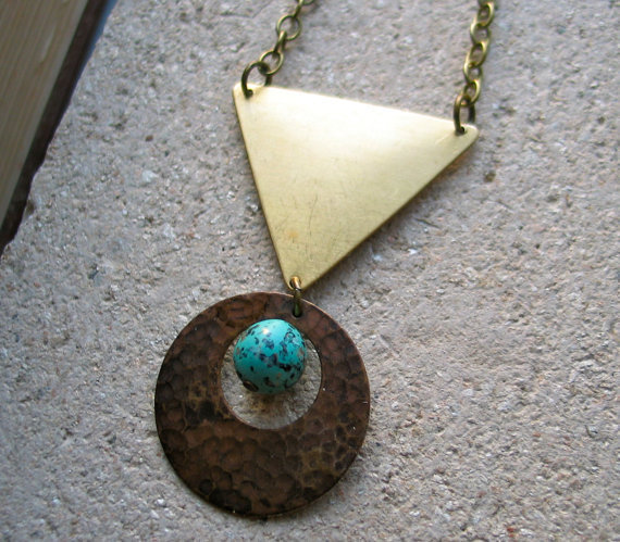 triangle and circle boho necklace enigma