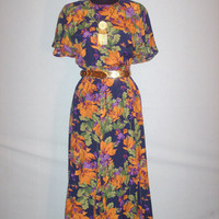 Vintage 1980s Dress with Bold Floral Print Design