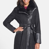 Women's Via Spiga Faux Leather Trim Herringbone Wool Blend Coat (Online Only)
