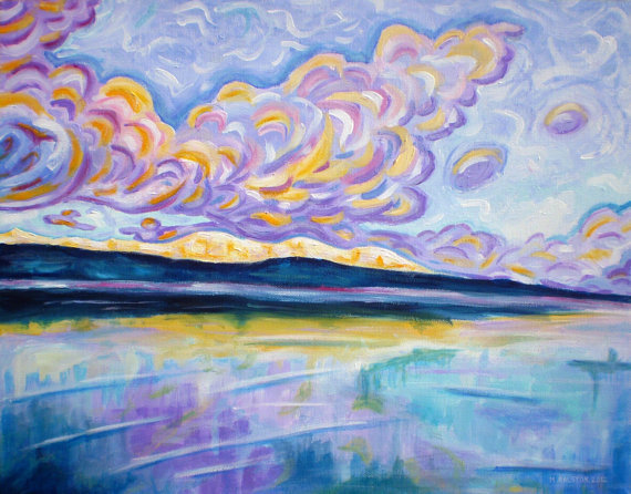 "ORIGINAL acrylic painting on stretched canvas - Sunrise On The Comox Glacier - 14"" x 18"""