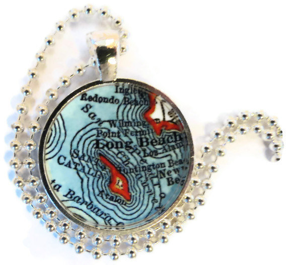 Long Beach vintage map necklace pendant, Catalina Island, California Jewelry