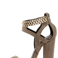 Stud-ette Grey Suede and Gold Studded Heels