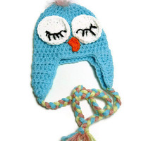 Owl Hat, Baby Bird Earflap Hat, Crochet Earflap Hat