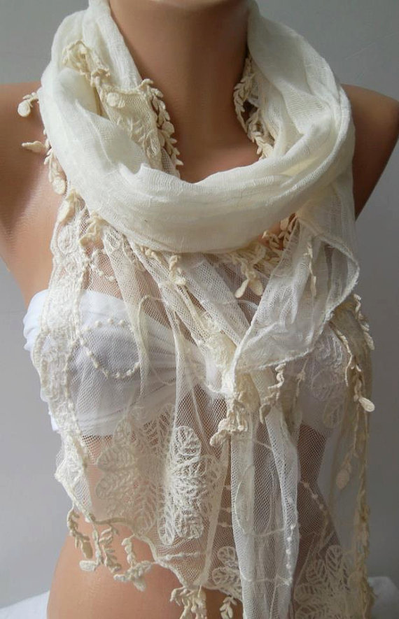 Pearl White  ---- Elegance Shawl / Scarf with Lace Edge.....