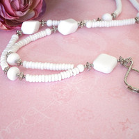 White Beaded ID Breakaway Lanyard