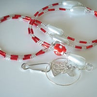 Beaded ID Badge Lanyard, Silver Angel, White Teardrop Pearls,Red Beads