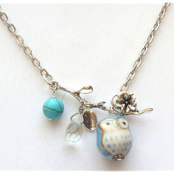 Silver Leaf  Turquoise Quartz  Porcelain Owl Necklace