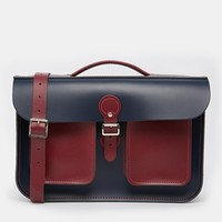 "Leather Satchel Co. 14"" Leather Satchel - Red"
