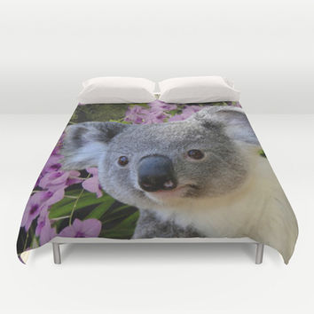 Koala and Cooktown Orchids Duvet Cover by Erika Kaisersot