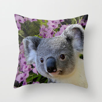 Koala and Cooktown Orchids Throw Pillow by Erika Kaisersot