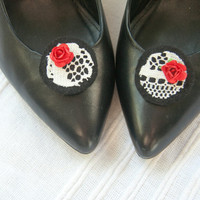 "Black felt shoe clips with vintage lace and red rose detail, ""Snow White"""