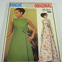 Vogue Sewing Pattern Paris Original Balmain 2043 1960&#x27;s womens evening dress, Un-cut