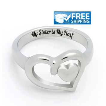 """Sister Gift - Heart Promise Sister Ring Engraved on Inside with """"My Sister is My Half"""", Sizes 6 to 9"""