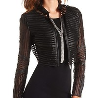 MESH STRIPED FAUX LEATHER CROPPED JACKET