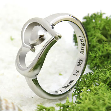 """Double Heart Ring - Silver Mother Ring Engraved on Inside with """"My Mom is My Angel"""", Ring Sizes 6 to 9"""