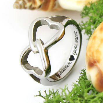 "Two Heart Ring - Mother Silver Ring Engraved on Inside with ""Forever Love You Mom"", Sizes 6 to 9"