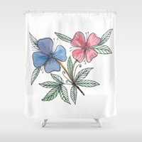 painted flower Shower Curtain by aticnomar