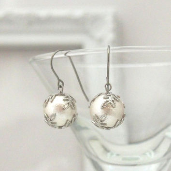 Veil: Classy and Elegant 12 mm White Cotton Pearl Earrings, Titanium Earrings, Surgical Stainless Steel Earrings for Sensitive Ears