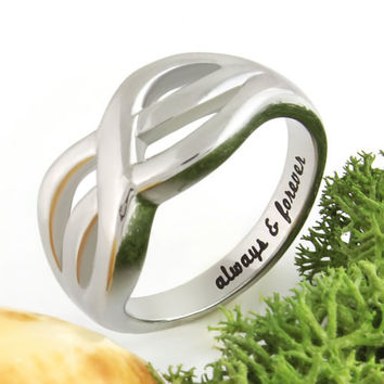 """Infinity Ring Purity Ring """"Always And Forever"""" Engraved Inside, Perfect Gift"""