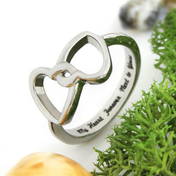 """Lovers Ring, Double Hearts Promise Ring """"My Heart Forever Next To Yours"""""""