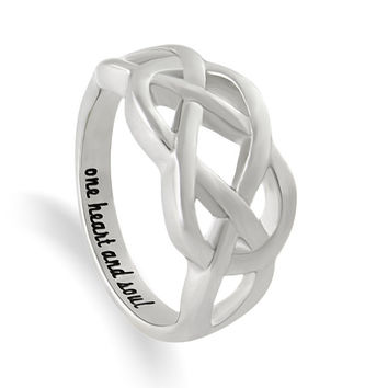 "Infinity Ring, Promise Ring Infinity Symbol Ring ""One Heart And Soul"" Engraved on Inside Best Gift for Friend or Loved one"