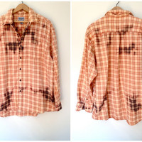 Bleached Flannel Shirt - Peach &amp; Brown