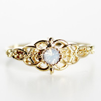 Moonstone Filigree Ring - Gold - Default Title
