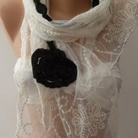 Creamy White and Elegance Shawl // Scarf with Black Roses and Lace Edge.,