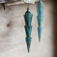 Narrow Triangle Earrings Verdigris Patina Geometric Earrings Rustic Green Art Deco Jewelry - E262