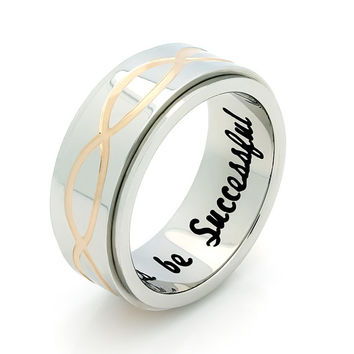 "Infinity Spinner Ring, Promise Ring Infinity Symbol Ring ""Always Be Successful"" Engraved on Inside Best Gift for Friend"