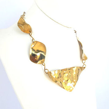 Tribal brass collar, high polish gold asymmetrical necklace, modern metal jewelry