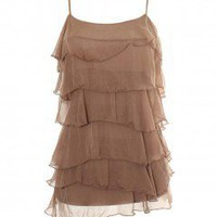 LOVE Dark Beige Ruffle Dress - Love