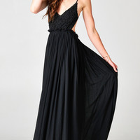 BLACK BLOSSOMING CROCHETED BACKLESS MAXI DRESS | PUBLIK | Women's Clothing & Accessories