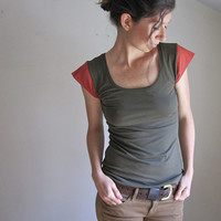 Organic Cotton Color Block Tee, Cap Sleeve Blouse, Olive Green, Women's Tank Top, Custom Made to Order