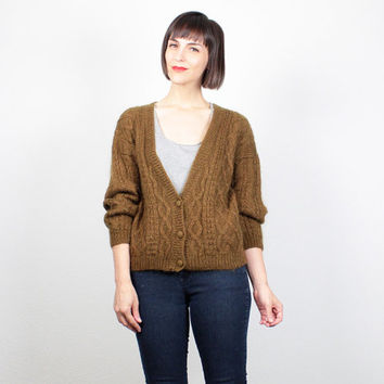 Vintage Olive Green Brown Sweater 1980s Deep V Neck Cardigan Cable Knit Sweater 80s Textured Mohair Jumper Preppy Grandpa Cardigan M Medium